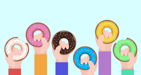 hold: flat illustration of human hands hold donuts Illustration
