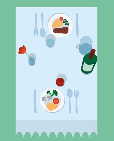 two on top: Vector illustration of flat table for two top view Illustration