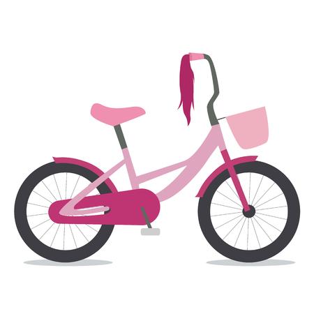 treadle: Flat illustration of children bike for girls with basket Illustration