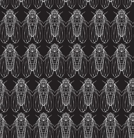 cicada: Seamless texture on blackboard with cicadas. Vector background for your creativity