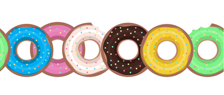 Seamless border with flat donuts in a row. Vector element for your creativity