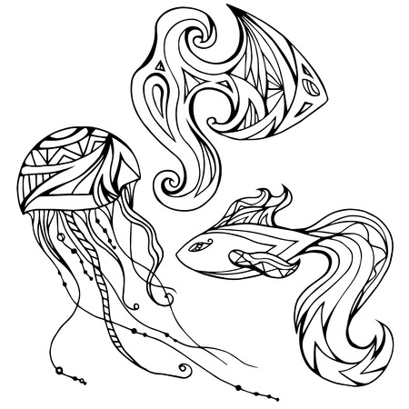 outline fish: Set of outline fish and jellyfish, decorated boho pattern. Vector element for your creativity
