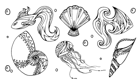 oceanside: Set of outline seashells, fish and jellyfish, decorated boho pattern. Vector element for your creativity Illustration