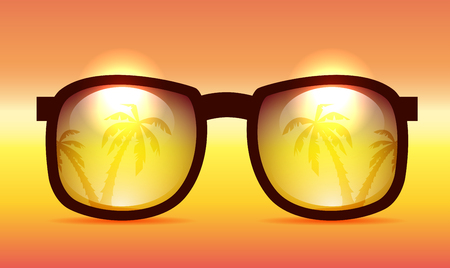 Vector illustration Summer sunglasses with the reflection of palm trees.