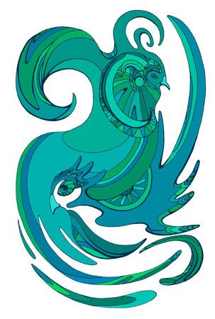 birds of paradise: Vector abstract illustration of bird of paradise. Pair of birds