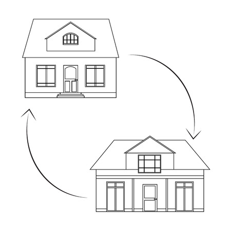 house exchange: Linear illustration on the theme of sharing and selling homes. Plans for estate companies, architectural agencies and your design