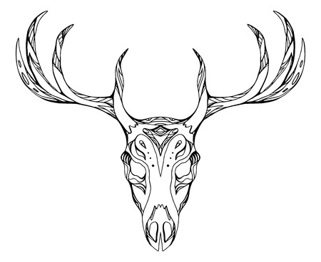 deer skull: Contour illustration of a deer skull with antlers with boho pattern. Vector doodle element for printing on T-shirts, tattoo sketch, postcards and your creativity