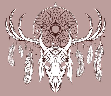 アントラーズ、ドリーム キャッチャー、自由奔放に生きるパターンと羽と鹿の頭蓋骨のイラスト。印刷のための t シャツ、タトゥー スケッチ、ポス  イラスト・ベクター素材