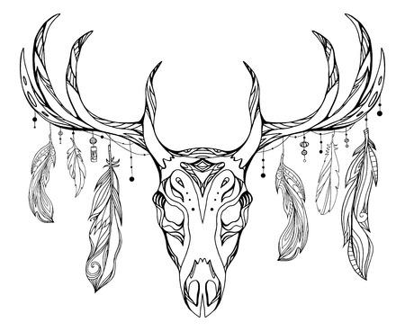 枝角を持つ鹿の頭蓋骨と自由奔放に生きるパターンと羽の等高線図。印刷のための t シャツ、タトゥー スケッチ、ポストカード、あなたの創造性の