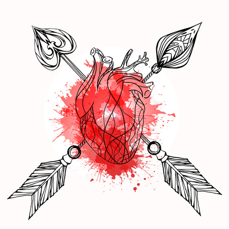 Illustration of heart,arrow and watercolor splash. Vector element for tattoo sketch, printing on T-shirts and your creativity