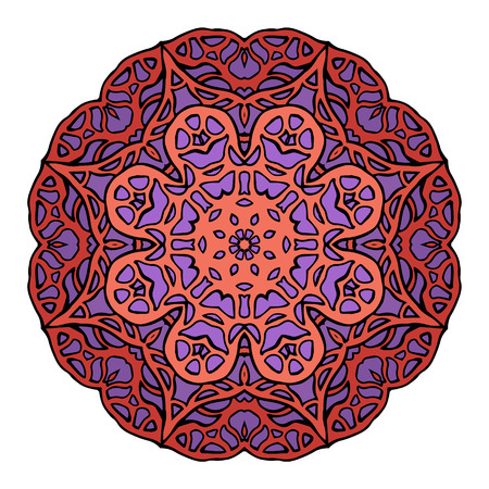 Circular stained glass mandala. Round doodle flower pattern for greeting cards and your creativity Illustration