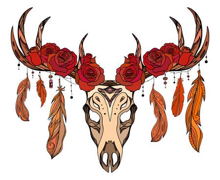バラ、羽、自由奔放に生きるパターンと鹿の頭蓋骨のイラスト。タトゥー スケッチ、印刷 t シャツ、ポストカード、あなたの創造性のベクトル要素