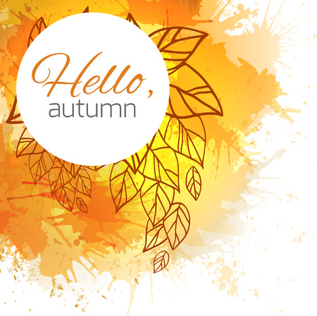 blobs: Autumn vector cover  with doodle leaves and yellow and orange blobs for your business