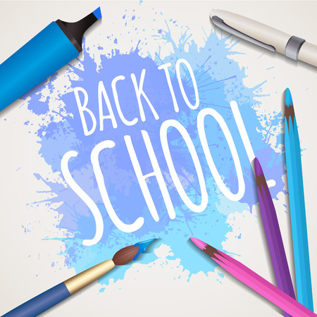splash back: Vector illustration with the words back to school with  watercolor brush, pen, marker, colour pencils and watercolor splash. Creative studio, fine arts lesson. Illustration