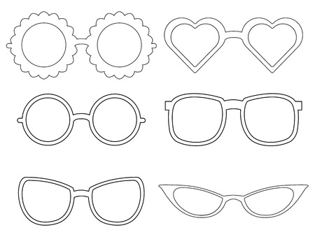 Set of contours of sunglass. Fashion elements. Sunglasses different species. Vector element for your creativity