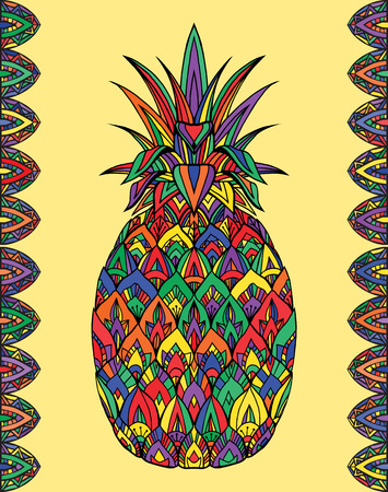 Colorful doodle illustration pineapple with boho pattern. Vector element for printing on T-shirts, postcards and your creativity Illustration