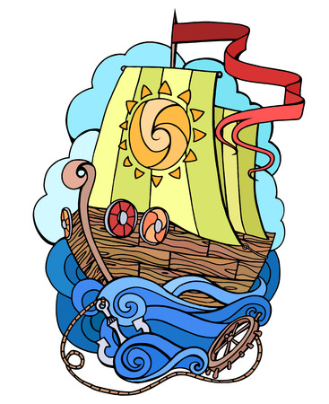 Vector abstract doodle illustration of a sea ship. Print Element T-shirts, postcards of your creativity Illustration