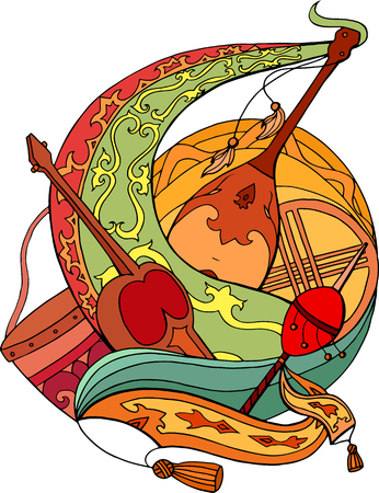 Abstract illustration of Kazakh national instruments with ornaments. Vector element for cards, stickers and your design 向量圖像