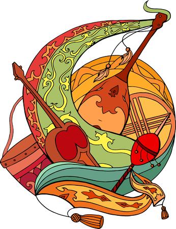 Resumen ilustración de los instrumentos nacionales kazajos con ornamentos. vector de los elementos tarjetas, pegatinas y su diseño Ilustración de vector