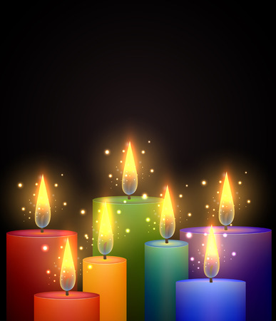 Vector illustration with rainbow candles and sparks.