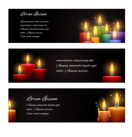 Set of horizontal banners with candles and space for text. Vector element for your creativity Illustration