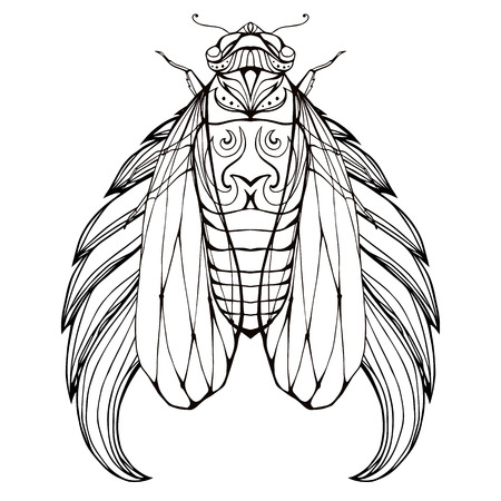 Doodle illustration of cicadas with wings and boho pattern. Vector element for tattoo sketch, printing on T-shirts, coloring books for adults and your design