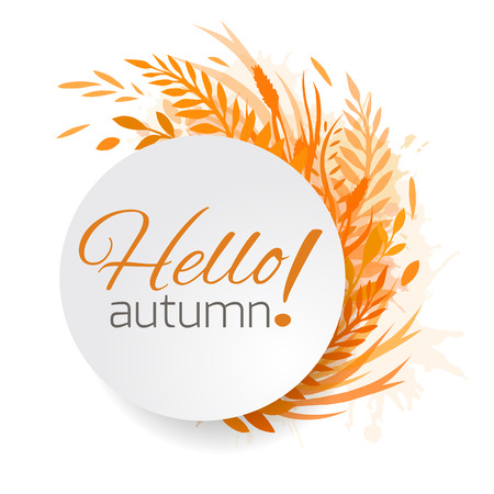 coronal: Round frame of autumn leaves, plants and herbs. Hello, Autumn. Vector design element for cards, banners, websites and your design