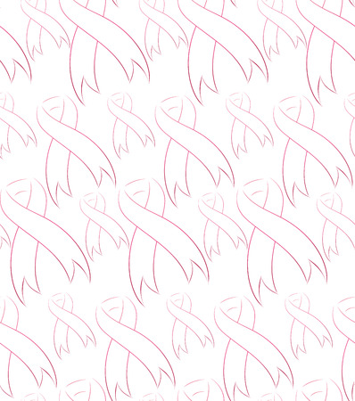 cancer ribbons: Seamless pattern with pink ribbons on the fight against breast cancer Illustration