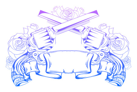duel: Illustration with crossed revolvers with roses and an ancient scroll. Duel. Vector element for printing on T-shirts, tattoos, registration card and your design Illustration