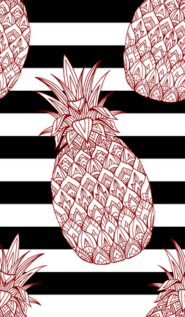 Seamless texture with doodle pineapple decorated boho pattern on striped background. Vector background for your creativity