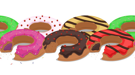 grit: Seamless border with bitten donuts into the glaze and grit. Vector element for your design and postcards Illustration