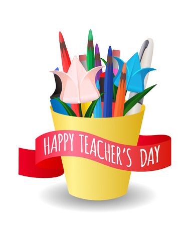 Vector illustration organizer with office supplies and paper flowers origami. Teachers Day. Congratulations on ribbon