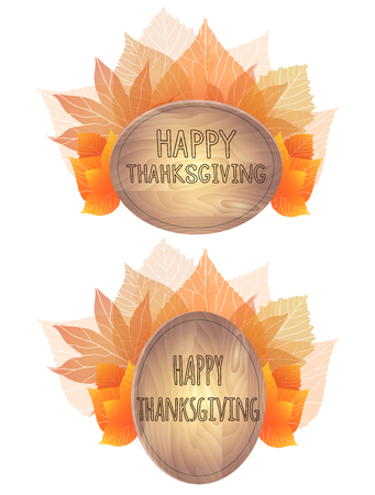 wooden plaque: Wooden plaque with a bouquet of autumn leaves. Happy Thanksgiving. Banners, greeting cards Illustration