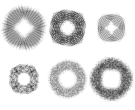 cross hatch: Set of round frames of strokes. Nests of birds. Vector element for banners, icons and your design