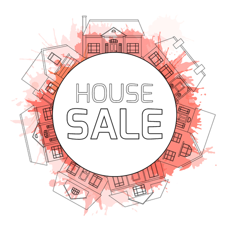 property for sale: Outline illustrations of country houses in a circle with watercolor splashes and space for text. Property For Sale