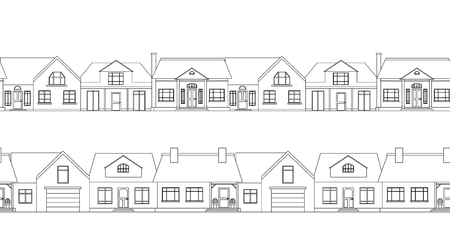town houses: Seamless border with contour country houses. element for the plans, scope and your design Illustration