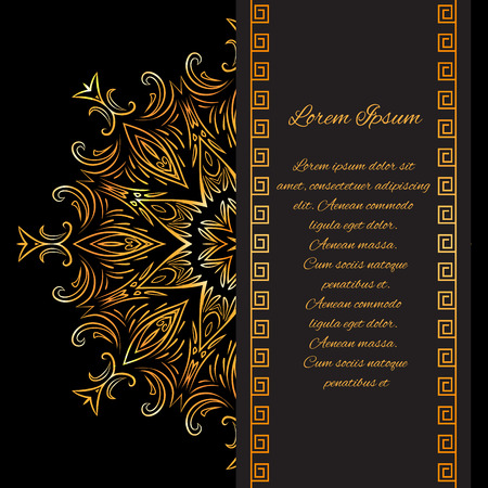 Template vintage invitation with gold pattern and place for text for your design