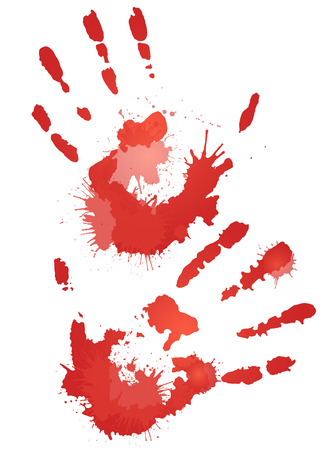 bloody hand print: Red bloody hand prints with splashes. element for your creativity Illustration