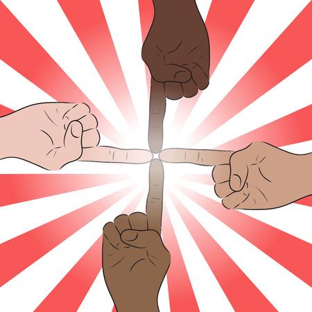 joined hands: Ilustración de la mano del hombre de varias nacionalidades se unió a los dedos índices. Unidad. Vectores