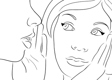 blab: Contour illustration with two gossiping girls.