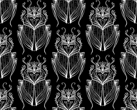 scarab: Pattern of white scarab with boho pattern on  black background. pho for your creativity