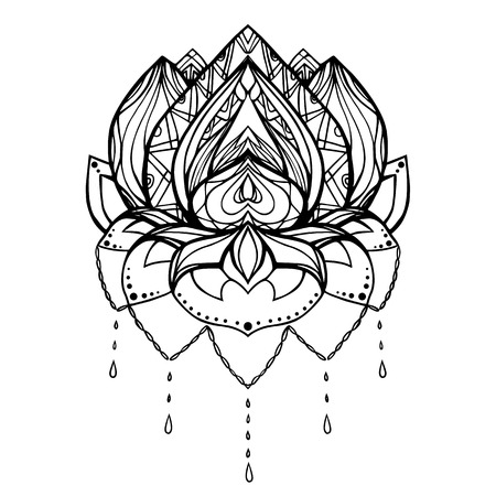 centers: Vector outline illustration of lotus with boho pattern. Element for tattoos, printing on T-shirts, postcards, spa centers, yoga studios and your design Illustration