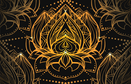 centers: Seamless luxury pattern with gold Lotus with boho pattern and bright spark. Vector element for spa centers, yoga studios. Hand drawn. Doodle elements for your design