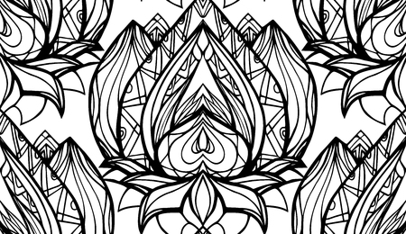 centers: Seamless black and white pattern with Lotus with boho pattern. Vector element for spa centers, yoga studios. Hand drawn. Doodle elements for your design. Coloring for adults Illustration