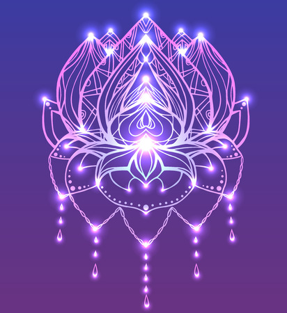 Outline Lotus with boho pattern and bright spark. Vector element for spa centers, yoga studios, tattoos, printing on T-shirts. Hand drawn. Doodle elements for your design