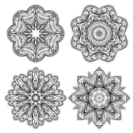 Set contour heathen round mandalas. Stained glass elements. Printing on T-shirts, eelemnty for design. Coloring for adults