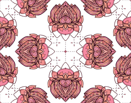 beauty center: Seamless pattern with pink lotus. Vector element for wraps, wallpaper, fabric and your creativity. Element for spa, yoga studio, beauty center Illustration