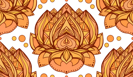 beauty center: Seamless pattern with gold yellow lotus. Vector element for wraps, wallpaper, fabric and your creativity. Element for spa, yoga studio, beauty center Illustration