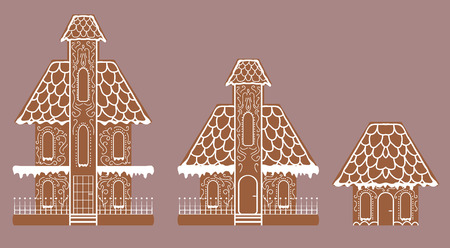 Vector set of flat biscuit gingerbread houses decorated with icin