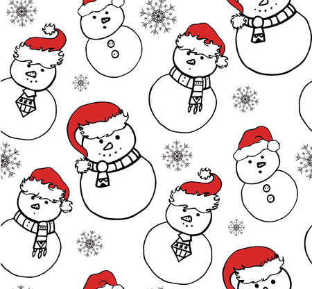 paper hats: Seamless texture with a snowman in festive hats. Vector Christmas pattern for wrapping paper, wallpaper, fabric and your design